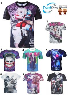 af30403bbb51 New 3D Men Women Funny T Shirt Suicide Squad Harley Quinn Joker Margot  Robbie M