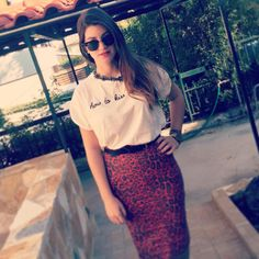 Posing girl, 'NfSale' in our #animal_print, #midi skirt! #BSB_collection