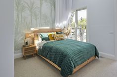 Green Bedding, Bedroom Green, Sage Green Wallpaper, The Block Australia, Wardrobe Door Handles, King Single Bed, 1950s House, Guest Bed, Guest Room