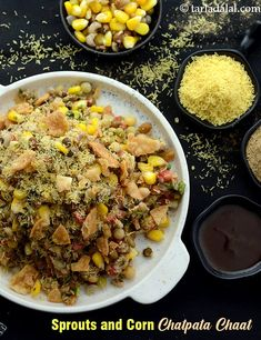 Sprouts and corn chaat Sprout Recipes, Veg Recipes, Chaat Recipe, Green Chutney, Chaat Masala, Tea Time Snacks, Evening Snacks, Food Photo, Street Food
