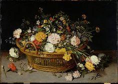 A Basket of Flowers  Jan Brueghel the Younger  (Flemish, Antwerp 1601–1678 Antwerp)