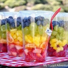 {Rainbow Fruit Cups I think these would be super easy to put together, and would probably be great in the freezer as a frozen treat too! Healthy Snacks For Kids Indian Fruit Party, Fruit Snacks, Party Snacks, Kid Snacks, Party Drinks, Team Snacks, Fruit Appetizers, Wedding Appetizers, Fruit Salads