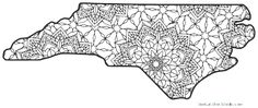 Free printable North Carolina coloring page with pattern to color for preschool, kids, and adults. North Carolina Tattoo, North Carolina History, North Carolina Map, Map Outline, State Outline, Wood Burning Art, Flower Coloring Pages, Stencil Patterns, Free Printable Coloring Pages