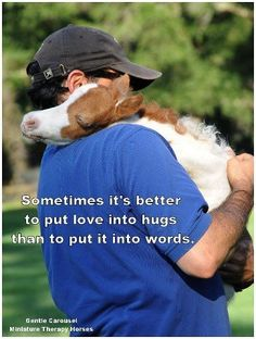 Sometimes it's better to put love into hugs than to put it into words.   Gentle Carousel Miniature Therapy Horses