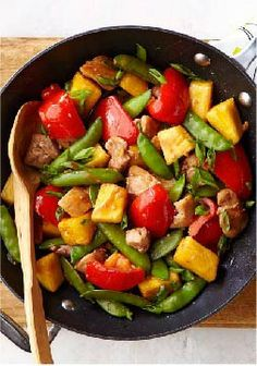 Sesame-Pineapple Chicken Stir-Fry – This 25-minute chicken thighs stir-fry gets its sweet and colorful appeal from red peppers, chunky pineapples and sugar snap peas.