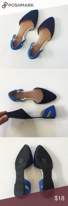 GAP Two Toned Blue Suede D'orsay Flats Two-toned blue D'orsay flats in faux suede. New, tried on once! GAP Shoes Flats & Loafers