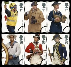 Navy Uniforms, Military Uniforms, Uk Stamps, Postage Stamps, Royal Navy Uniform, Great Britan, Commemorative Stamps, Penny Black, Mail Art