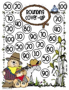 Students will turn over two cards at a time. The first card is the tens digit and the second is the ones digit. They round that number to the nearest ten. If they are correct, they cover one of those spots on the game board. If those spots are all taken, lose a turn. Play until all spots are covered. The one with the most counters on the board is the winner.  ENJOY!!