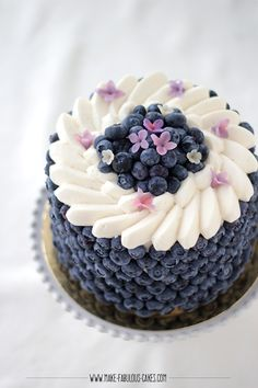 Blueberry cream cake Blueberry Cream Cake with lots of blueberries on the side of the cake Blueberry Cream Cake 578 Source by BlueberryLife Beautiful Cake Designs, Beautiful Cakes, Cake Recipes, Dessert Recipes, Fresh Flower Cake, Flower Cakes, Blueberry Cake, Painted Cakes, Fancy Cakes