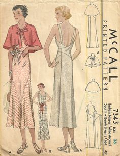 Vintage 1930s Sewing Pattern MCCALL7343 Wrap Dress Cape Size 36 Thirties | eBay