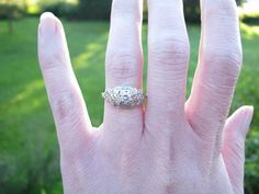 Vintage+Diamond+Engagment+Ring+Lovely+Crisp+Details+by+Franziska,+$358.00