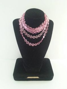 Vintage Pink 3 Strand Necklace 1950s Retro Rockabilly Old Hollywood Regency Mid Century Collectible Vintage Jewelry by MartiniMermaid on Etsy https://www.etsy.com/listing/247988173/vintage-pink-3-strand-necklace-1950s