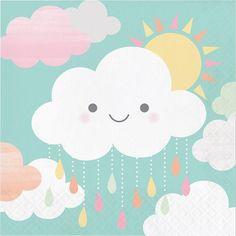 Cloud Party Napkins - Sunshine Baby Shower, Cloud Baby Shower, You are my Sunshine, Rainbow Baby Sho Baby Shower Lunch, Baby Shower Napkins, Party Napkins, Napkins Set, Shower Party, Baby Shower Parties, Cloud Party, Sunshine Baby Showers, Colorful Clouds