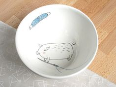 Bowl  Sewing pig by kimslittlemonsters on Etsy