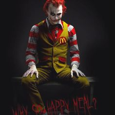 Humorous but lovely. I can't help but feel that displaying Ronald McDonald as everyone's favorite psychopathic clown is a little bit of hyperbole. McDonald's isn't healthy, but still I highly doubt genuinely murderous. Either way got a kick out if it.