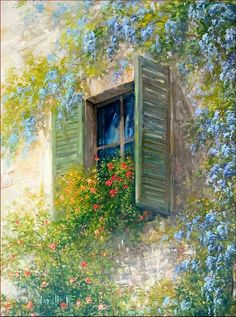 Bloomed Wood Window - Italy Painting by Antonietta Varallo ✿⊱╮ Watercolor Illustration, Watercolor Paintings, Original Paintings, Italian Painters, Italian Artist, Garden Painting, Painting On Wood, Italy Painting, Wood Windows