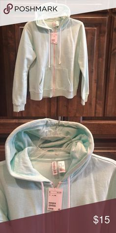New NWT H&M Mint Green Hoodie Jacket M $19.99! New NWT - H&M Mint Green Hoodie Full Zip Jacket - size Medium - cotton/ poly - heavyweight- bought brand new for $19.99! H&M Tops Sweatshirts & Hoodies