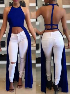 Shop this halter backless slit dress at www.queenfy.com with cost-effective price, which makes you unique one on the street. #dresses #backless #womenswear #summerstyle