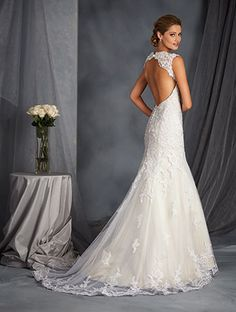 Style 2545 Back - Lace Fit and Flare Bridal Gown - Alfred Angelo 2016 Collection, now stocked at Cotswold Bride, Cheltenham  www.cotswoldbride.com
