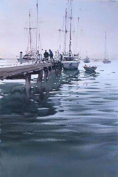 Joseph Zbukvic Joseph Zbukvic, Landscape Paintings, Marine Art, Boat Art, Seascape, Watercolor Landscape, Seascapes Art, Watercolor Boat, Water Painting