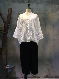 Solid Color Flowers Embroidery Spring White Blouse Loose Linen Clothing    #white #fashion #embroidery #dlowers #linen #plussize