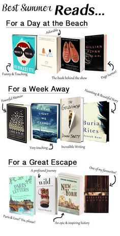 Best Summer Reads -- for a day at the beach, a week away and a great escape! Love this list of beach reads.