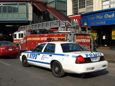 NYPD Police Car & FDNY Ladder Truck 707, Fordham, Bronx, New York City by jag9889, via Flickr