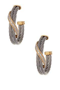 Classique 18K Gold Diamond Ribbon Hoop Earrings