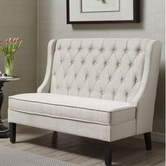 Add stylish seating to your entryway or living room with this Pulaski upholstered banquette bench. Settee Dining, Upholstered Dining Bench, Tufted Sofa, Corner Dining Bench, Kitchen Benches, Entryway Bench, Kitchen Banquette Ideas, Dining Bench With Back, Entryway Furniture