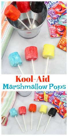 These Kool-Aid Marshmallow Pops are the easiest summer snack idea! These Kool-Aid Marshmallow Pops are the easiest summer snack idea! Summer Snacks, Summer Treats, Easy Snacks, Kid Snacks, Summer Fun, Summer Time, Coconut Peanut Butter, Edible Crafts, Marshmallow Pops