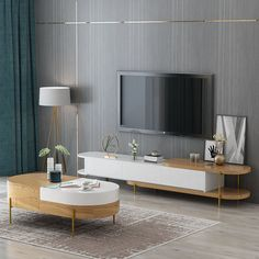 Luxury White Movable TV Stand And Round Coffee Table Combination Nordic Minimalist Living Room Wood Furniture Set Nordic Living Room, Living Room Modern, Living Room Designs, Living Room Decor, Tv Stand And Coffee Table, Coffe Table, Bedroom Tv Unit Design, Living Room Tv Cabinet, Center Table Living Room