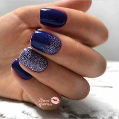 60 Trending Nail Art Designs Trend In 2019 Blue Gel Nails, Purple Nails, Vernis Semi Permanent, Dipped Nails, Gel Nail Designs, Creative Nails, Stylish Nails, Nail Polish Colors, Pretty Nails