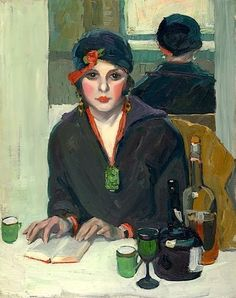 """Jane Peterson - """"Reading in a Cafe"""" (ca1920)"""