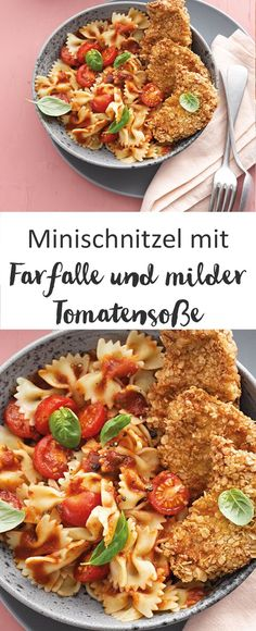 Mini-Schnitzel mit Farfalle und milder Tomatensauce - Minischnitzel Pasta Farfalle Pastarezept Rezept Mittagessen I Weight Watchers La mejor imagen sobre - Pasta Farfalle, Farfalle Recipes, Pasta Recipes, Points Plus Recipes, Ww Recipes, Veggie Recipes, Healthy Recipes, Veggie Food, Plats Weight Watchers