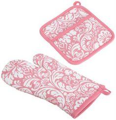 DII Pink Cosmo Printed Damask Oven Mitt AND Potholder SET Aussie RUN Brand NEW | eBay