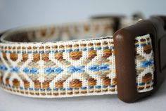 "Aztec Geometric 1"" Width Adjustable Dog Collar - Also as martingale - Brown and Blue on Etsy, $18.00"