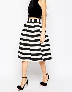 Find the best selection of ASOS PETITE Midi Prom Skirt in Stripe. Shop today with free delivery and returns (Ts&Cs apply) with ASOS! Asos Skirts, Asos Petite, Stripe Skirt, Mi Long, Petite Fashion, Vintage Outfits, Vintage Clothing, Midi Skirt, High Waisted Skirt