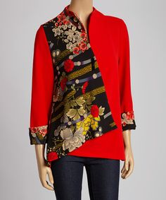 Take a look at the Come N See Red & Black Floral Patchwork Jacket on #zulily today!