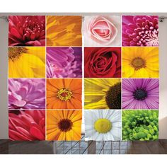 Coughlin Home Rose Sunflower Violet Colorful Flowers Romance Botanical Plants Image Graphic Print & Text Semi-Sheer Rod Pocket Curtain Panels (Set of 2)