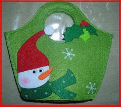 Felt gift bag with snowman - make small as an ornament