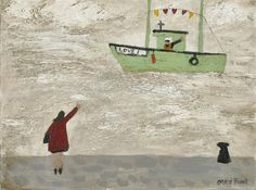 Gary Bunt - A Fisherman Who Was in Love - oil on. Canvas A fisherman waved to a woman Who was standing on the quay They missed each other very much When he went off to sea Naive Art, Dog Art, Mans Best Friend, Painting Inspiration, Modern Art, Art Photography, Folk, Illustration Art, Artsy