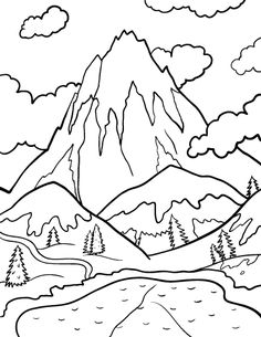 printable mountain coloring page free pdf download at httpcoloringcafecom - Mountain Coloring Pages Printable