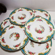 Vintage Tuscan Fine Bone China Salad Plates, Naples Pattern, Made in Naples