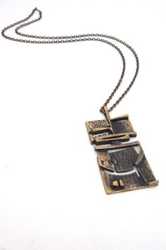 Jorma Laine, Finland - vintage bronze abstract pendant necklace