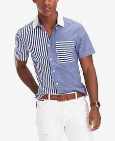 Shirt Logo Design, Shirt Designs, Casual Button Down Shirts, Casual Shirts, Tommy Hilfiger, Mens Kurta Designs, Shirt Makeover, Raw Denim, Summer Shirts