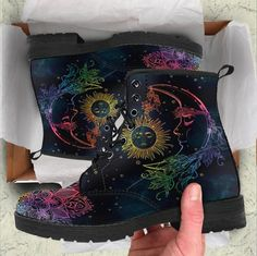 HandCrafted Colorful Sun and Moon Boots Soft Grunge, Grunge Style, Moon Boots, Tokyo Street Fashion, Ankle Boots, Knee High Boots, High Heels, Knee Boot, Vans Authentic