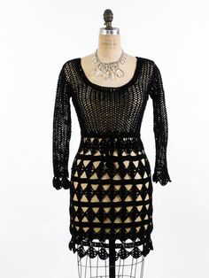 Vintage 80's Crochet Dress // Little Black Dress by SwellFarewell