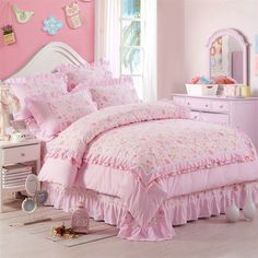 Create a bold statement in the bedroom with the retro shabby chic pink bedding sets. The vintage bohemian shabby chic pink bedding sets feature vogue pattern in soft colors. Twin Bedroom Sets, Bedding Master Bedroom, Teen Bedding, Kids Bedroom, Bedroom Ideas, Shabby Chic Pink, Shabby Chic Bedrooms, Shabby Chic Furniture, Furniture Chairs