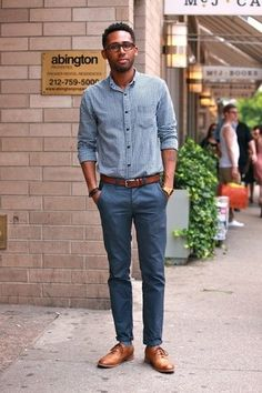 Men's Navy Chinos, Blue Socks, Tan Leather Brogues, Brown Leather Belt, and White and Blue Gingham Longsleeve Shirt