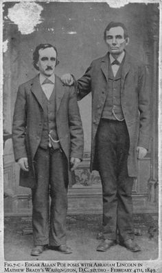 Edgar Allan Poe poses with Abraham Lincoln in Mathew Brady ´s Washington,D,C, studio. February,4th,1849.